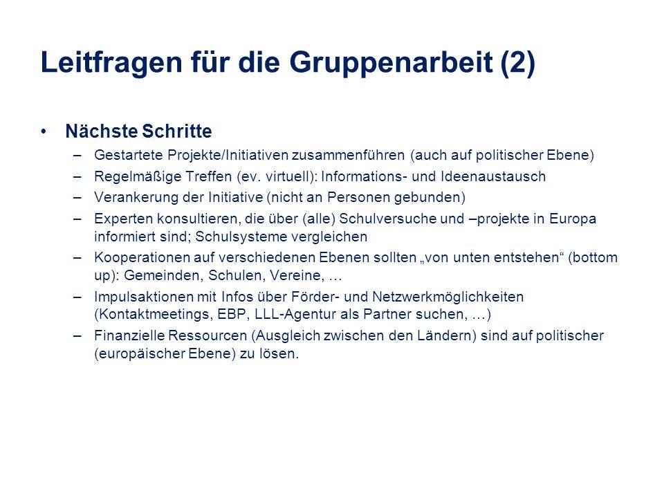 Leitfragen für die Gruppenarbeit (2) Nächste Schritte –Gestartete Projekte/Initiativen zusammenführen (auch auf politischer Ebene) –Regelmäßige Treffe