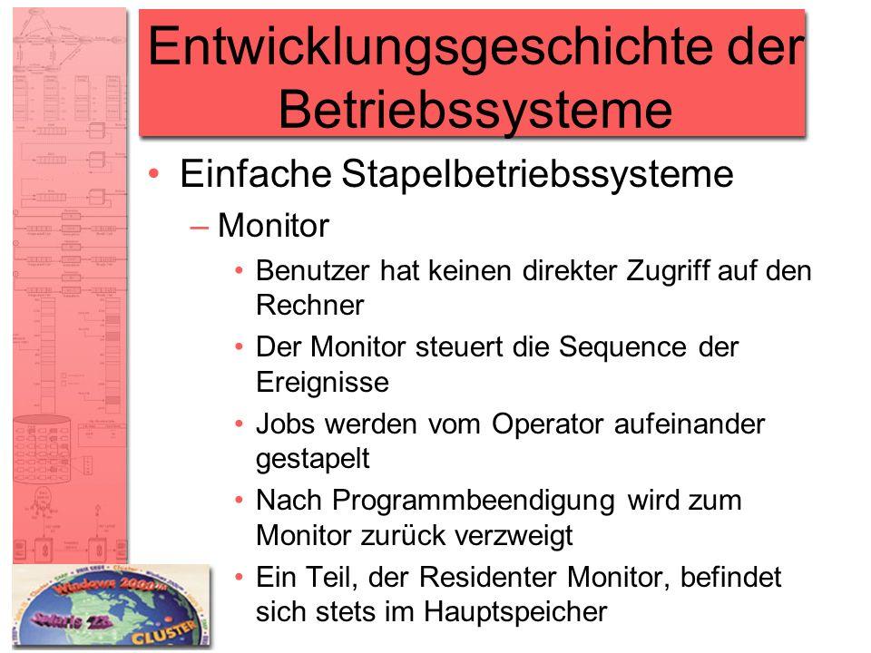 Entwicklungsgeschichte der Betriebssysteme Einfache Stapelbetriebssysteme –Monitor Benutzer hat keinen direkter Zugriff auf den Rechner Der Monitor st