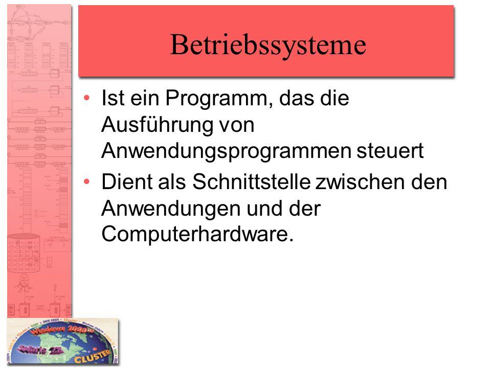 Betriebssysteme Ist ein Programm, das die Ausführung von Anwendungsprogrammen steuert Dient als Schnittstelle zwischen den Anwendungen und der Compute