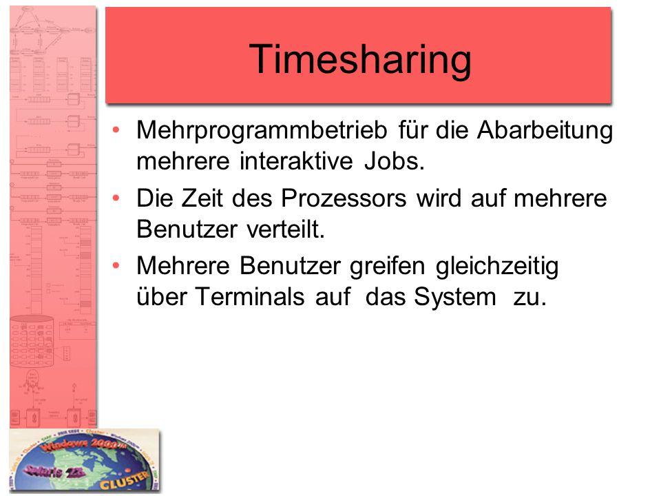 Timesharing Mehrprogrammbetrieb für die Abarbeitung mehrere interaktive Jobs. Die Zeit des Prozessors wird auf mehrere Benutzer verteilt. Mehrere Benu