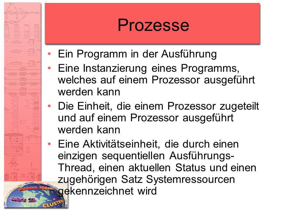 Prozesse Ein Programm in der Ausführung Eine Instanzierung eines Programms, welches auf einem Prozessor ausgeführt werden kann Die Einheit, die einem