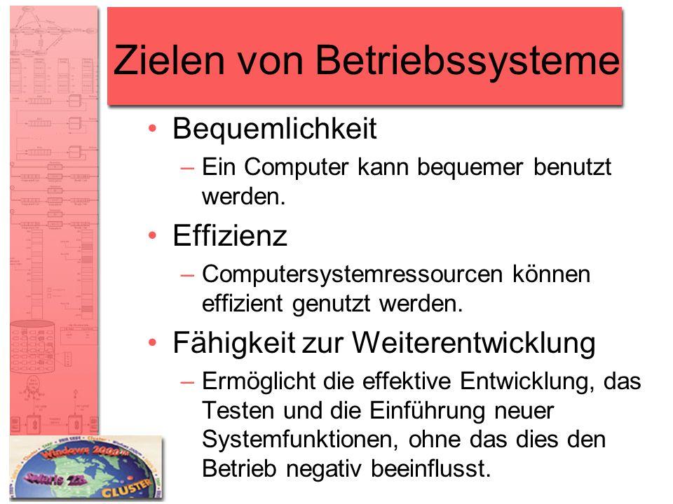 Zielen von Betriebssysteme Bequemlichkeit –Ein Computer kann bequemer benutzt werden. Effizienz –Computersystemressourcen können effizient genutzt wer