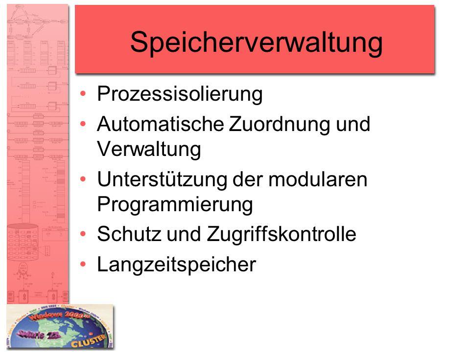 Speicherverwaltung Prozessisolierung Automatische Zuordnung und Verwaltung Unterstützung der modularen Programmierung Schutz und Zugriffskontrolle Lan