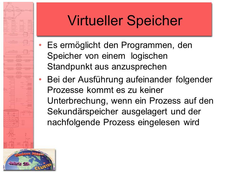 Virtueller Speicher Es ermöglicht den Programmen, den Speicher von einem logischen Standpunkt aus anzusprechen Bei der Ausführung aufeinander folgende