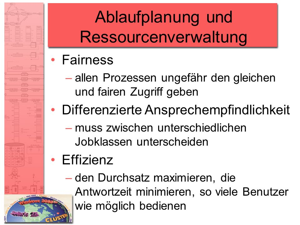 Ablaufplanung und Ressourcenverwaltung Fairness –allen Prozessen ungefähr den gleichen und fairen Zugriff geben Differenzierte Ansprechempfindlichkeit