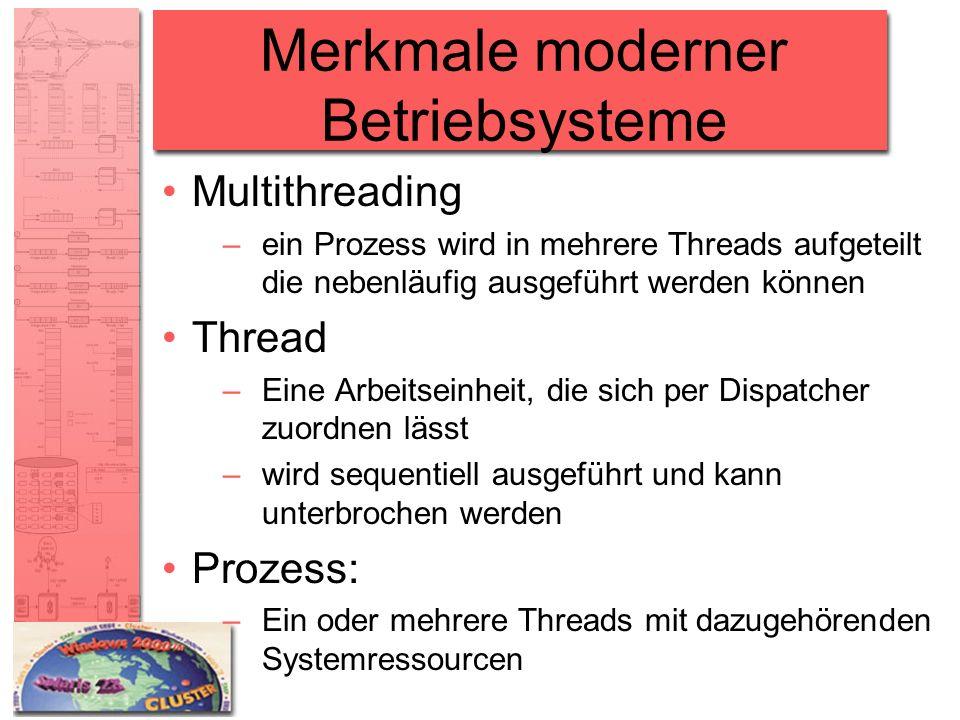 Merkmale moderner Betriebsysteme Multithreading –ein Prozess wird in mehrere Threads aufgeteilt die nebenläufig ausgeführt werden können Thread –Eine