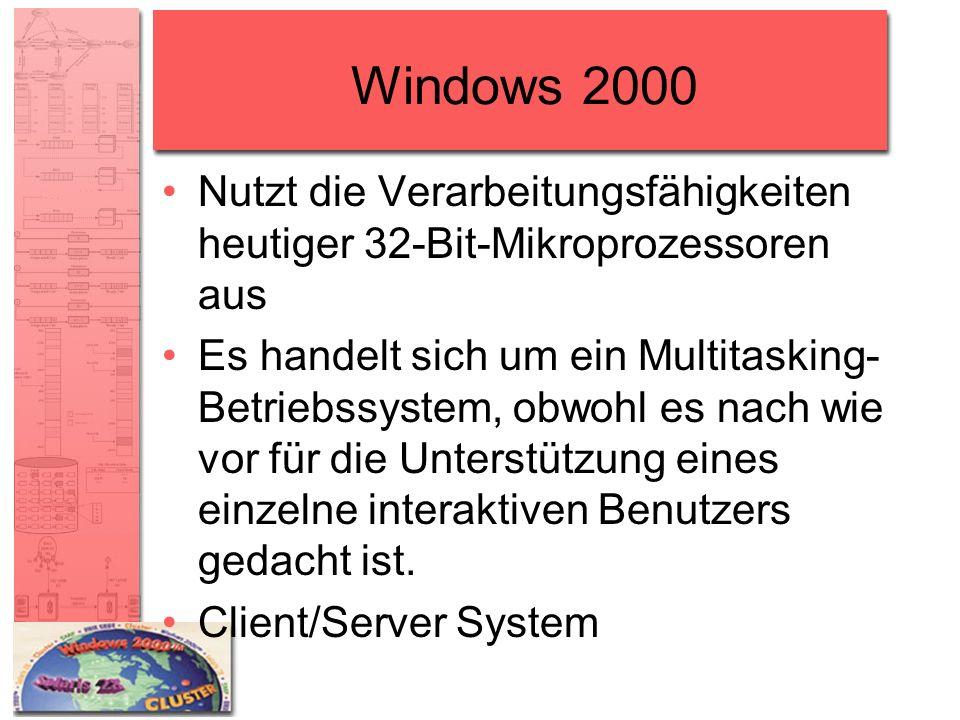 Windows 2000 Nutzt die Verarbeitungsfähigkeiten heutiger 32-Bit-Mikroprozessoren aus Es handelt sich um ein Multitasking- Betriebssystem, obwohl es na