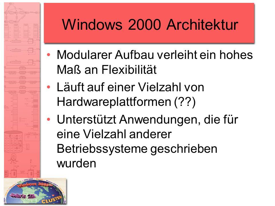 Windows 2000 Architektur Modularer Aufbau verleiht ein hohes Maß an Flexibilität Läuft auf einer Vielzahl von Hardwareplattformen (??) Unterstützt Anw