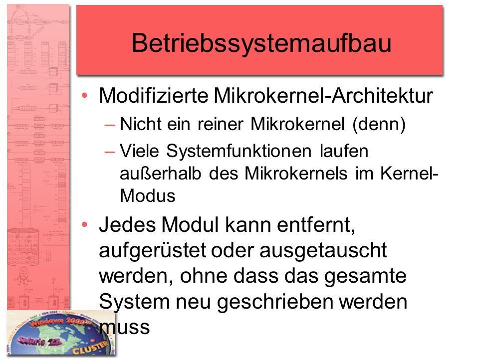 Betriebssystemaufbau Modifizierte Mikrokernel-Architektur –Nicht ein reiner Mikrokernel (denn) –Viele Systemfunktionen laufen außerhalb des Mikrokerne