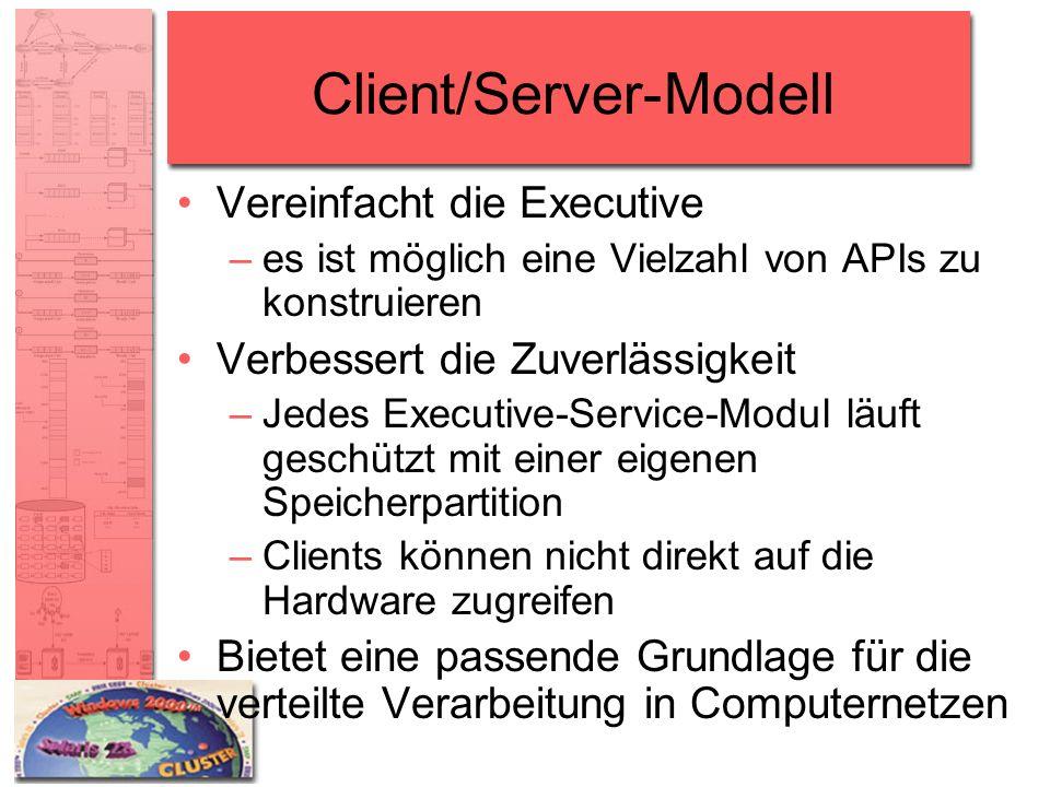 Client/Server-Modell Vereinfacht die Executive –es ist möglich eine Vielzahl von APIs zu konstruieren Verbessert die Zuverlässigkeit –Jedes Executive-