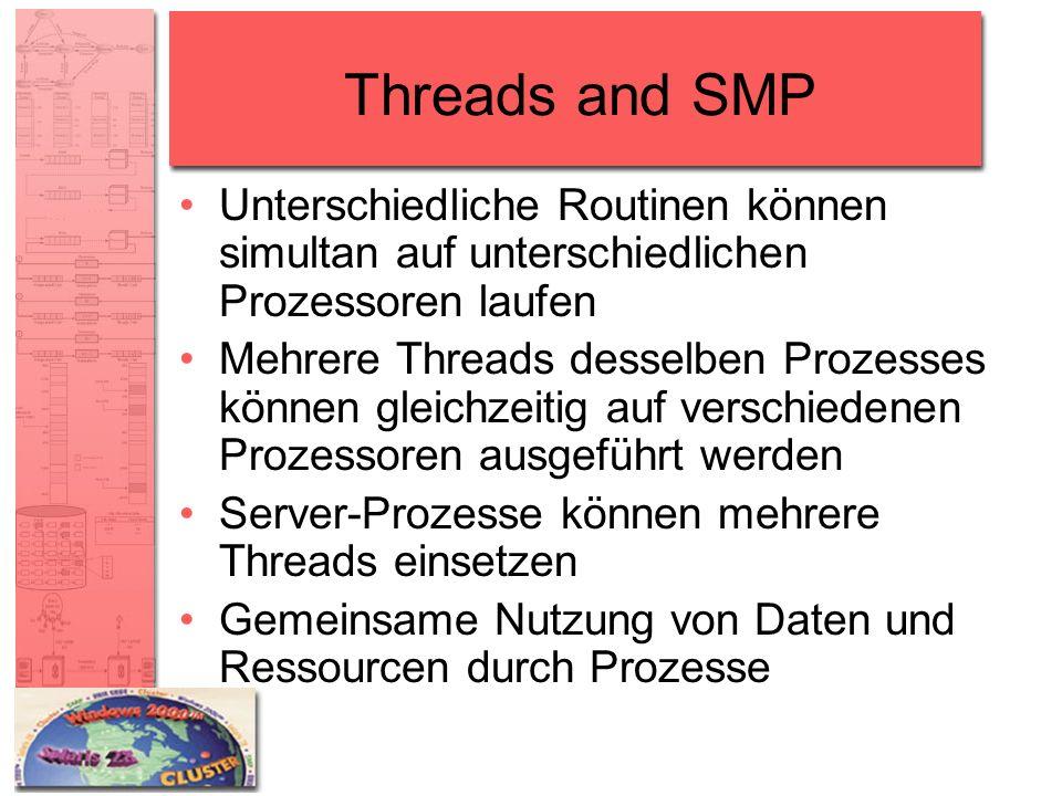 Threads and SMP Unterschiedliche Routinen können simultan auf unterschiedlichen Prozessoren laufen Mehrere Threads desselben Prozesses können gleichze