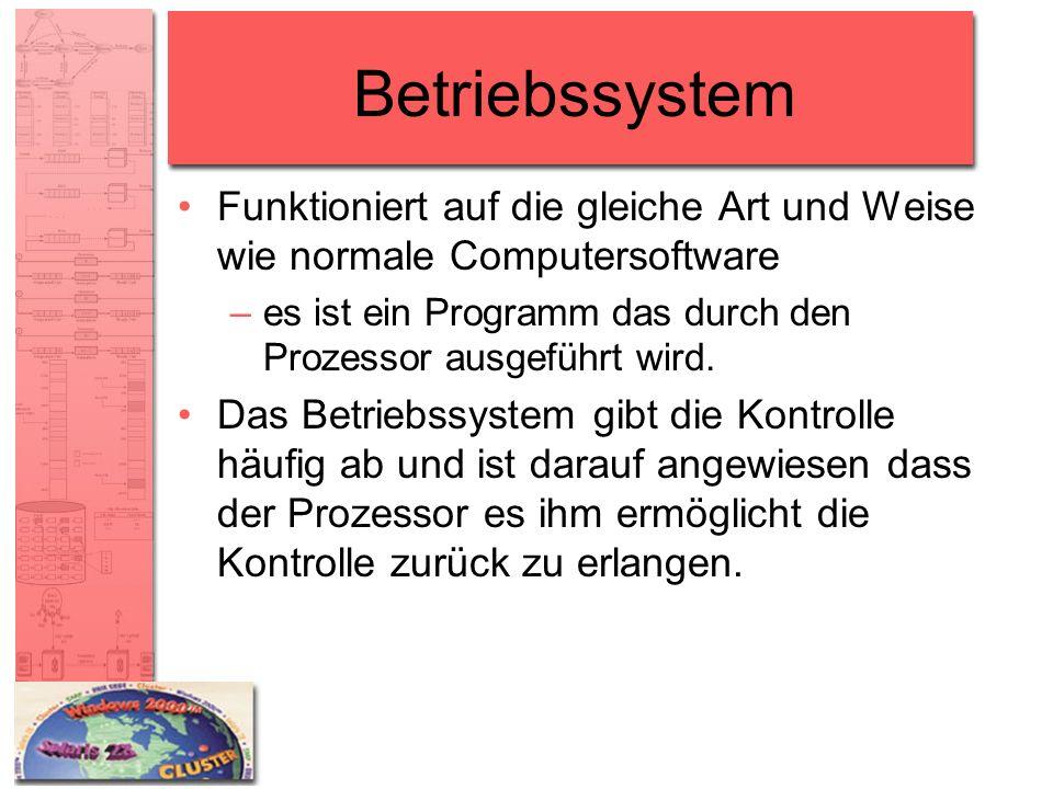 Betriebssystem Funktioniert auf die gleiche Art und Weise wie normale Computersoftware –es ist ein Programm das durch den Prozessor ausgeführt wird. D