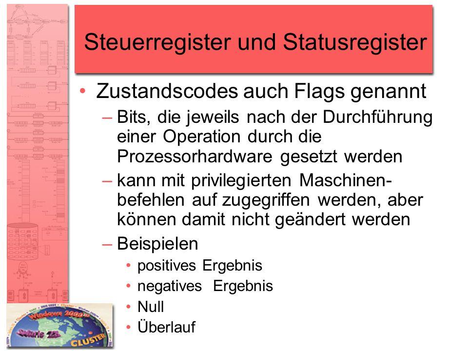 Steuerregister und Statusregister Zustandscodes auch Flags genannt –Bits, die jeweils nach der Durchführung einer Operation durch die Prozessorhardwar