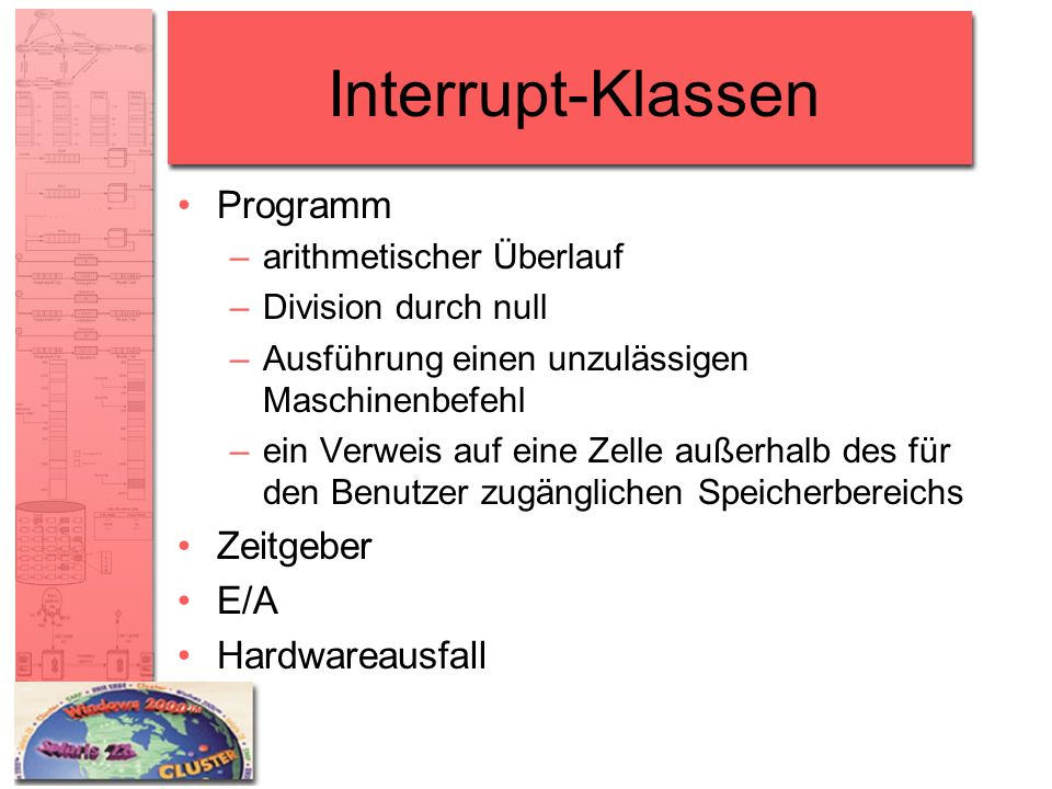 Interrupt-Klassen Programm –arithmetischer Überlauf –Division durch null –Ausführung einen unzulässigen Maschinenbefehl –ein Verweis auf eine Zelle au
