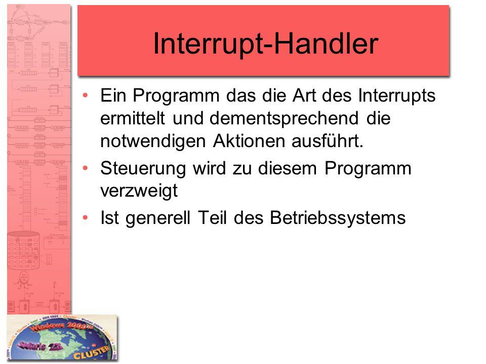 Interrupt-Handler Ein Programm das die Art des Interrupts ermittelt und dementsprechend die notwendigen Aktionen ausführt. Steuerung wird zu diesem Pr