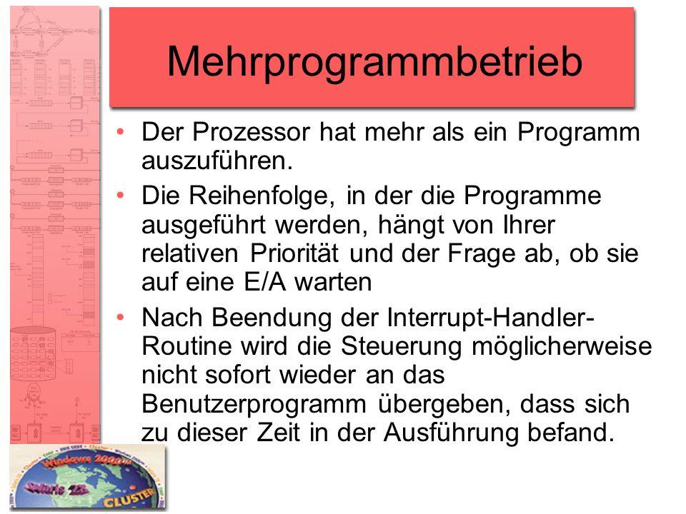 Mehrprogrammbetrieb Der Prozessor hat mehr als ein Programm auszuführen. Die Reihenfolge, in der die Programme ausgeführt werden, hängt von Ihrer rela