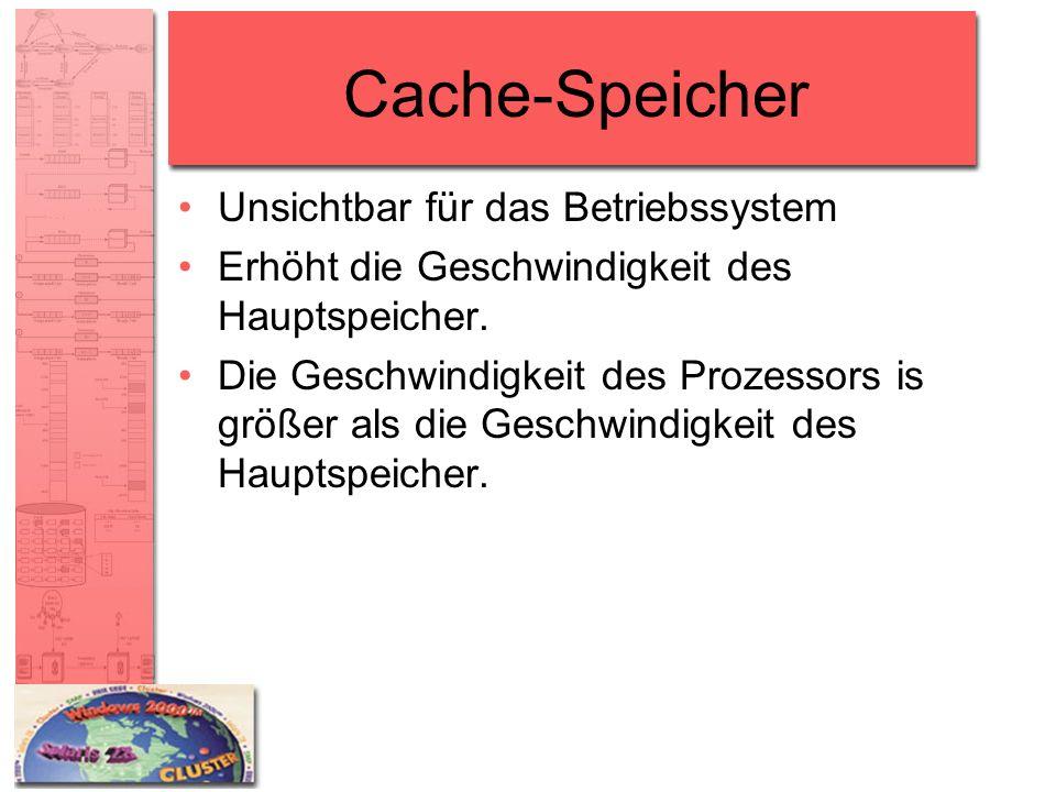 Cache-Speicher Unsichtbar für das Betriebssystem Erhöht die Geschwindigkeit des Hauptspeicher. Die Geschwindigkeit des Prozessors is größer als die Ge