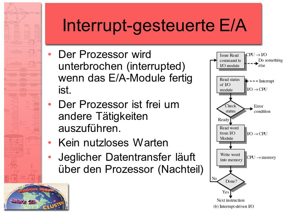 Interrupt-gesteuerte E/A Der Prozessor wird unterbrochen (interrupted) wenn das E/A-Module fertig ist. Der Prozessor ist frei um andere Tätigkeiten au