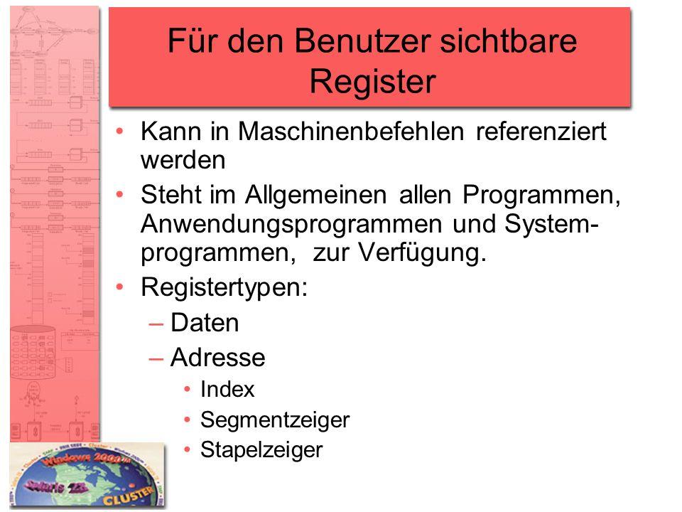 Für den Benutzer sichtbare Register Kann in Maschinenbefehlen referenziert werden Steht im Allgemeinen allen Programmen, Anwendungsprogrammen und Syst