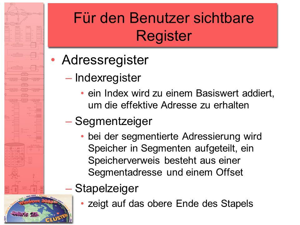 Für den Benutzer sichtbare Register Adressregister –Indexregister ein Index wird zu einem Basiswert addiert, um die effektive Adresse zu erhalten –Seg