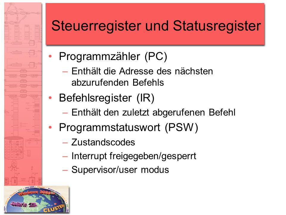 Steuerregister und Statusregister Programmzähler (PC) –Enthält die Adresse des nächsten abzurufenden Befehls Befehlsregister (IR) –Enthält den zuletzt