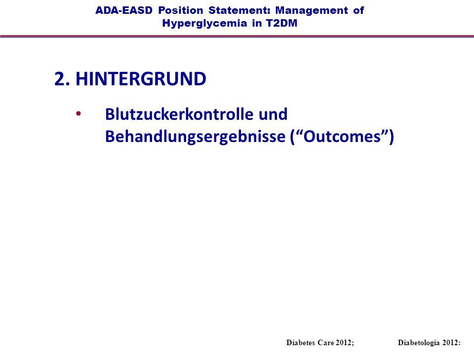 ADA-EASD Position Statement: Management of Hyperglycemia in T2DM 2. HINTERGRUND Blutzuckerkontrolle und Behandlungsergebnisse (Outcomes) Diabetes Care