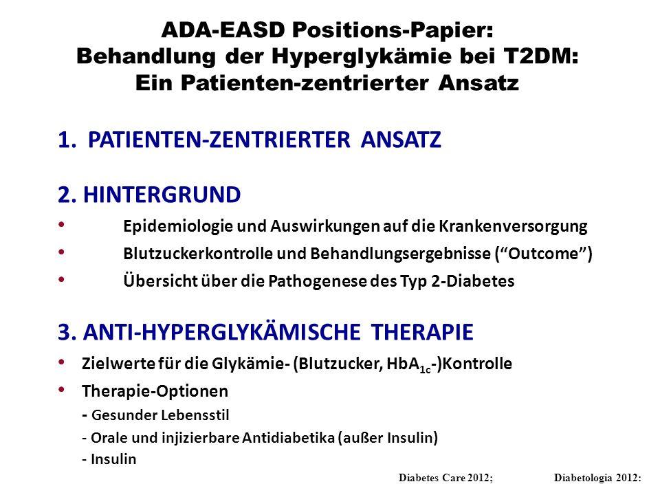 ADA-EASD Positions-Papier: Behandlung der Hyperglykämie bei T2DM: Ein Patienten-zentrierter Ansatz 1. PATIENTEN-ZENTRIERTER ANSATZ 2. HINTERGRUND Epid