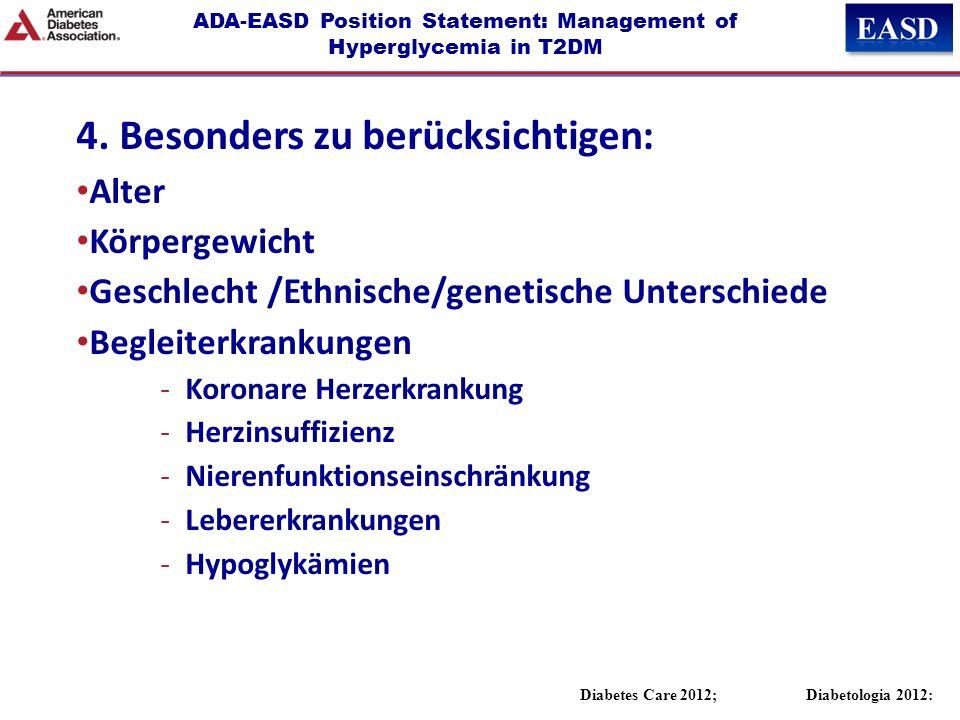 ADA-EASD Position Statement: Management of Hyperglycemia in T2DM 4. Besonders zu berücksichtigen: Alter Körpergewicht Geschlecht /Ethnische/genetische