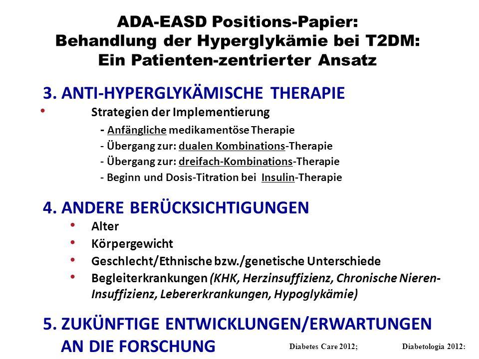 3. ANTI-HYPERGLYKÄMISCHE THERAPIE Strategien der Implementierung - Anfängliche medikamentöse Therapie - Übergang zur: dualen Kombinations-Therapie - Ü