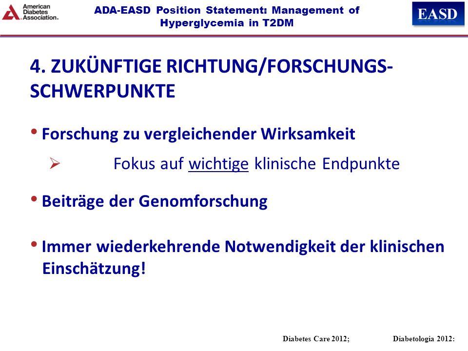 ADA-EASD Position Statement: Management of Hyperglycemia in T2DM Diabetes Care 2012; Diabetologia 2012: 4. ZUKÜNFTIGE RICHTUNG/FORSCHUNGS- SCHWERPUNKT