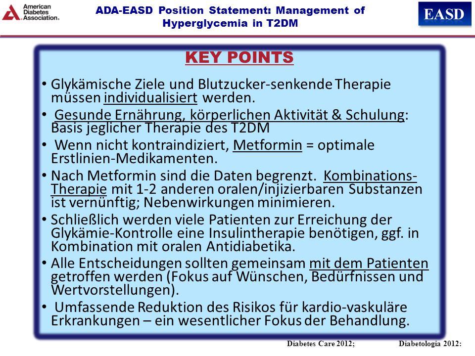 ADA-EASD Position Statement: Management of Hyperglycemia in T2DM Diabetes Care 2012; Diabetologia 2012: KEY POINTS Glykämische Ziele und Blutzucker-se