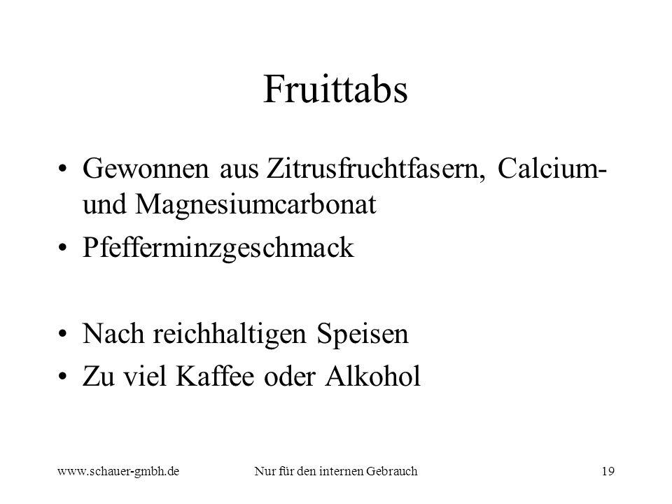 www.schauer-gmbh.deNur für den internen Gebrauch19 Fruittabs Gewonnen aus Zitrusfruchtfasern, Calcium- und Magnesiumcarbonat Pfefferminzgeschmack Nach