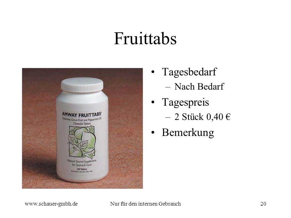 www.schauer-gmbh.deNur für den internen Gebrauch20 Fruittabs Tagesbedarf –Nach Bedarf Tagespreis –2 Stück 0,40 Bemerkung