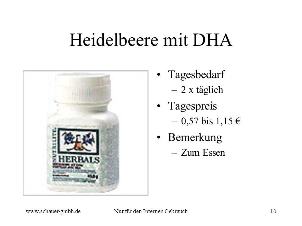 www.schauer-gmbh.deNur für den Internen Gebrauch10 Heidelbeere mit DHA Tagesbedarf –2 x täglich Tagespreis –0,57 bis 1,15 Bemerkung –Zum Essen
