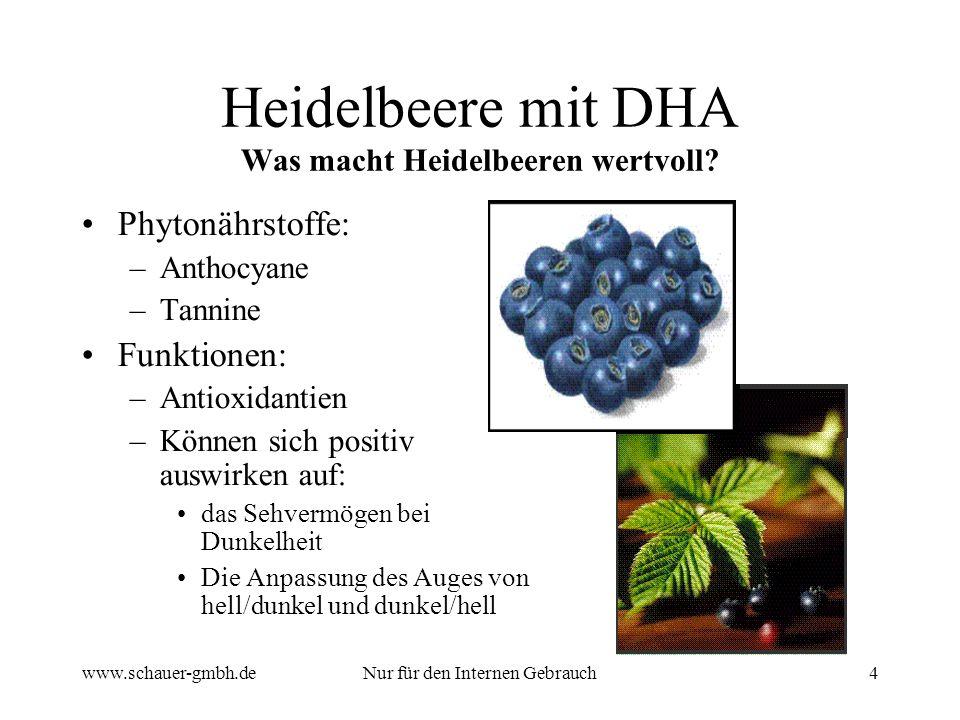 www.schauer-gmbh.deNur für den Internen Gebrauch4 Heidelbeere mit DHA Was macht Heidelbeeren wertvoll? Phytonährstoffe: –Anthocyane –Tannine Funktione