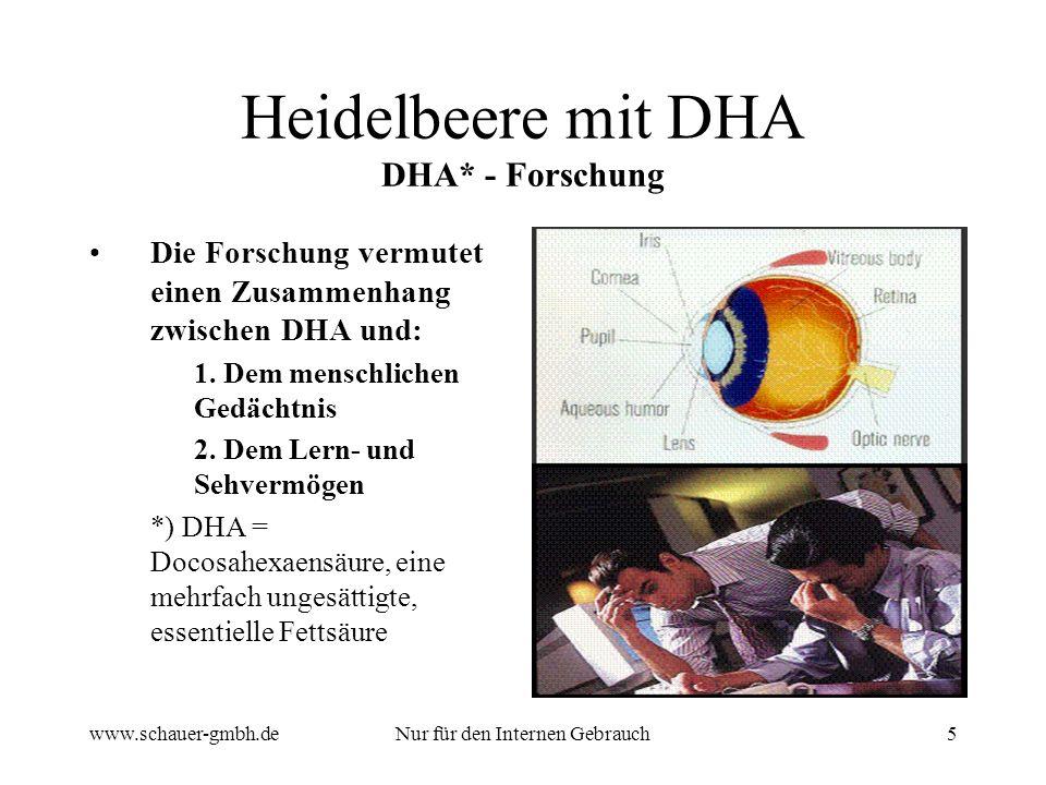 www.schauer-gmbh.deNur für den Internen Gebrauch6 Heidelbeere mit DHA Vorteile von DHA DHA ist in hoher Konzentration im Auge enthalten DHA ist vermutlich notwendig für die Entwicklung des Augengewebes DHA spielt eine Rolle im Blutkreislauf