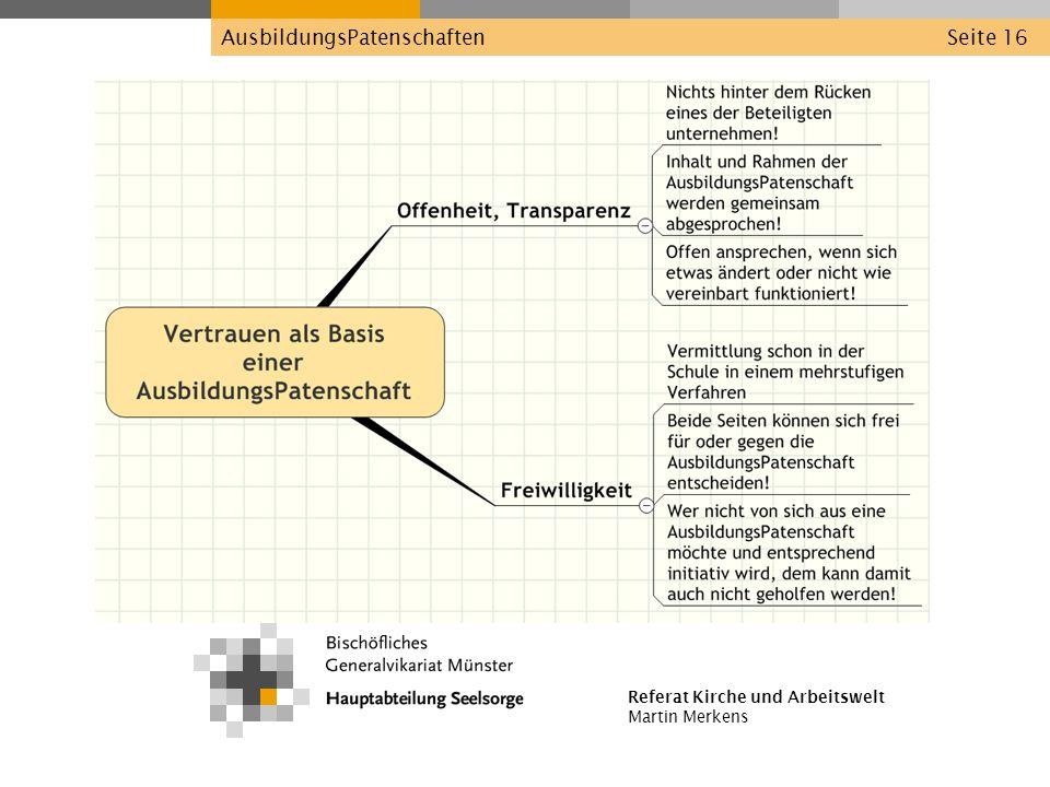 Referat Kirche und Arbeitswelt Martin Merkens AusbildungsPatenschaftenSeite 16