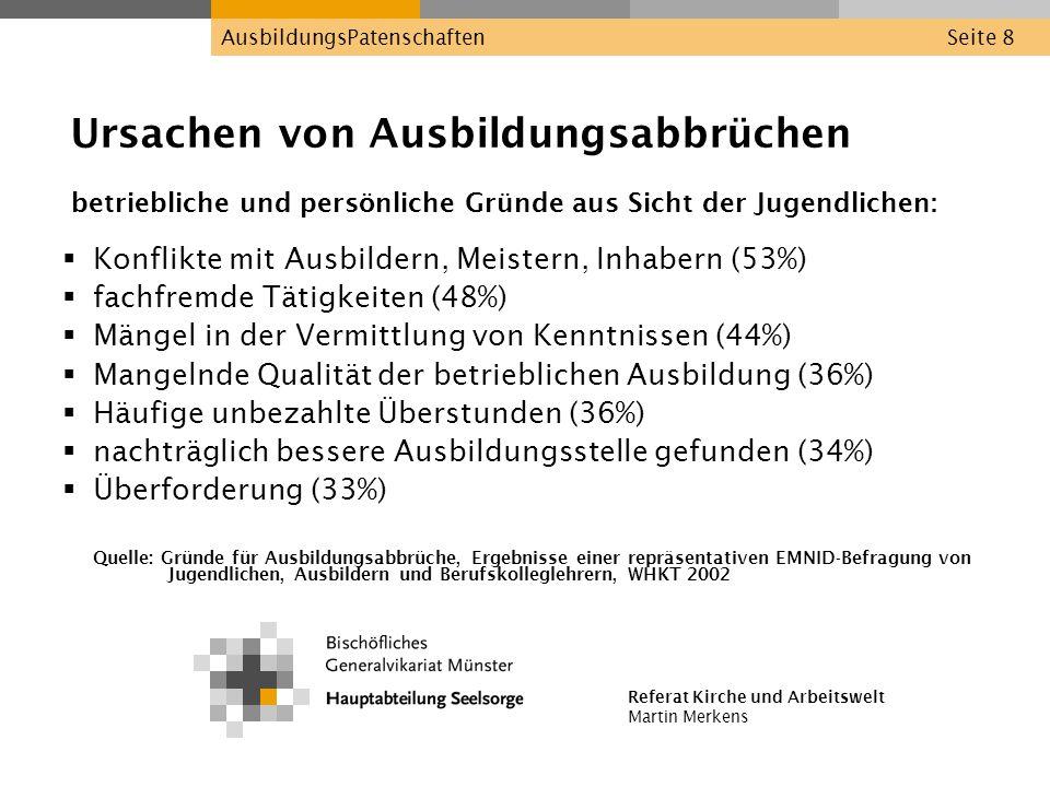 Referat Kirche und Arbeitswelt Martin Merkens AusbildungsPatenschaftenSeite 8 Ursachen von Ausbildungsabbrüchen betriebliche und persönliche Gründe au