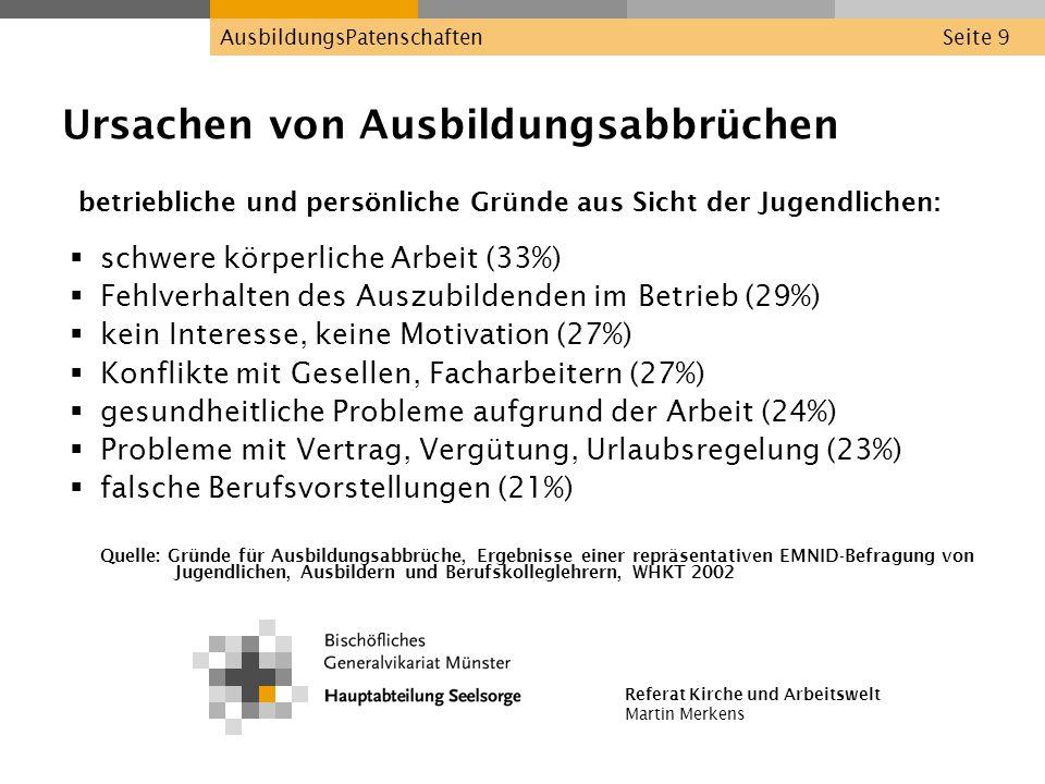 Referat Kirche und Arbeitswelt Martin Merkens AusbildungsPatenschaftenSeite 9 Ursachen von Ausbildungsabbrüchen betriebliche und persönliche Gründe au
