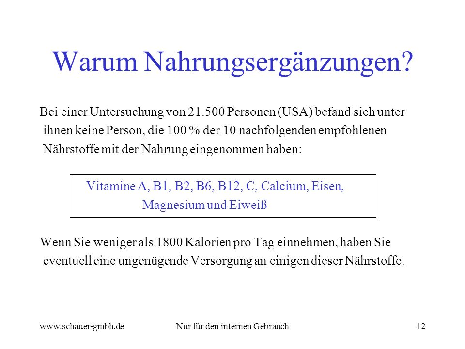 www.schauer-gmbh.deNur für den internen Gebrauch12 Warum Nahrungsergänzungen? Bei einer Untersuchung von 21.500 Personen (USA) befand sich unter ihnen
