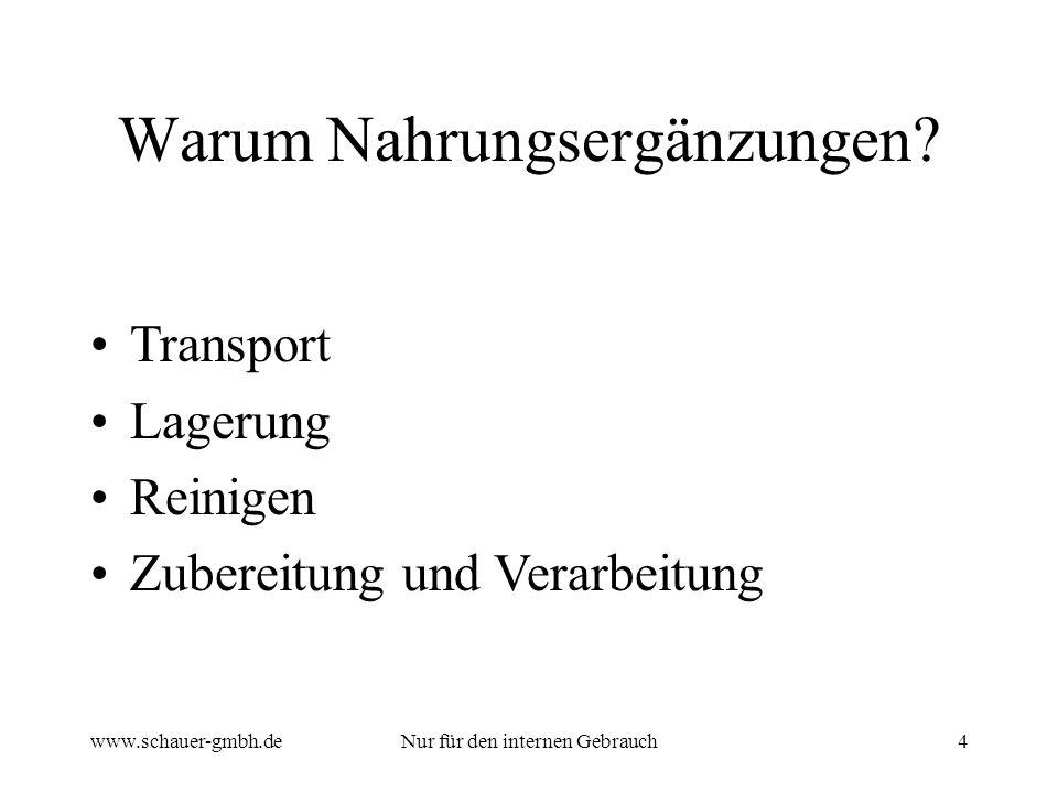 www.schauer-gmbh.deNur für den internen Gebrauch4 Transport Lagerung Reinigen Zubereitung und Verarbeitung Warum Nahrungsergänzungen?
