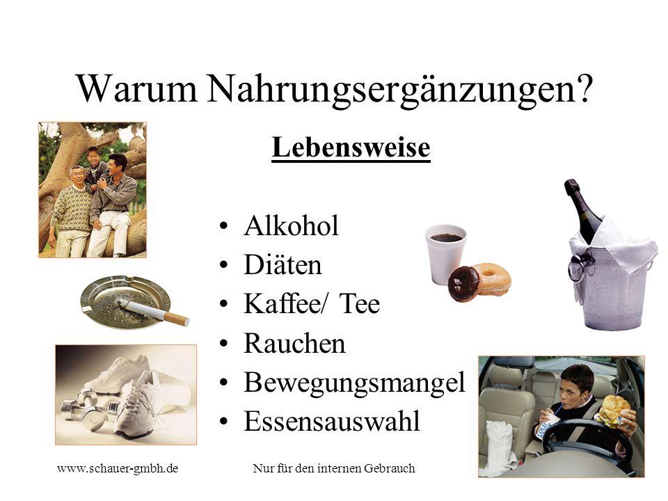 www.schauer-gmbh.deNur für den internen Gebrauch5 Lebensweise Alkohol Diäten Kaffee/ Tee Rauchen Bewegungsmangel Essensauswahl Warum Nahrungsergänzung