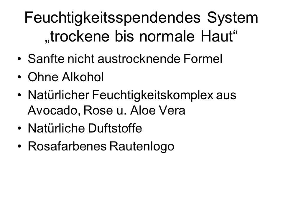 Feuchtigkeitsspendendes System trockene bis normale Haut Sanfte nicht austrocknende Formel Ohne Alkohol Natürlicher Feuchtigkeitskomplex aus Avocado,