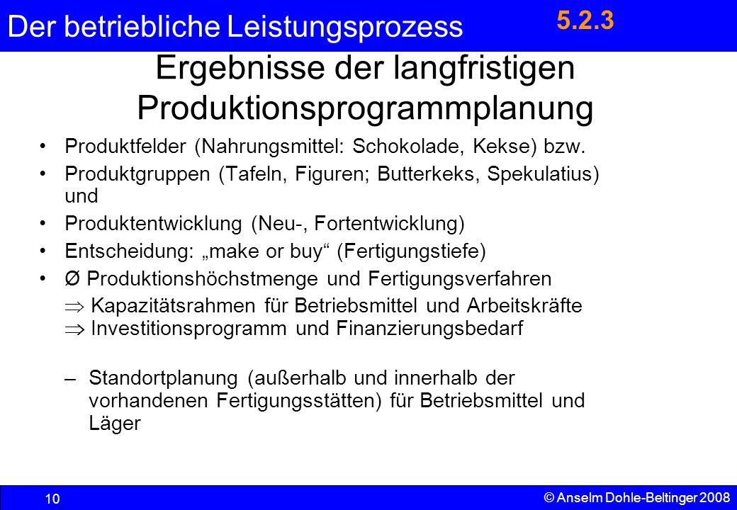 Der betriebliche Leistungsprozess 10 © Anselm Dohle-Beltinger 2008 Ergebnisse der langfristigen Produktionsprogrammplanung Produktfelder (Nahrungsmitt