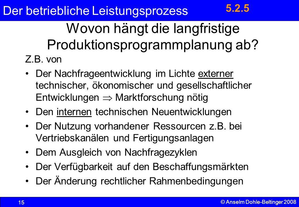 Der betriebliche Leistungsprozess 15 © Anselm Dohle-Beltinger 2008 Wovon hängt die langfristige Produktionsprogrammplanung ab? Z.B. von Der Nachfragee