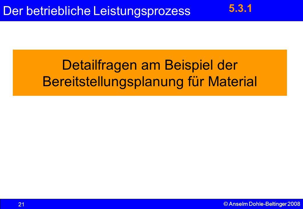 Der betriebliche Leistungsprozess 21 © Anselm Dohle-Beltinger 2008 Detailfragen am Beispiel der Bereitstellungsplanung für Material 5.3.1