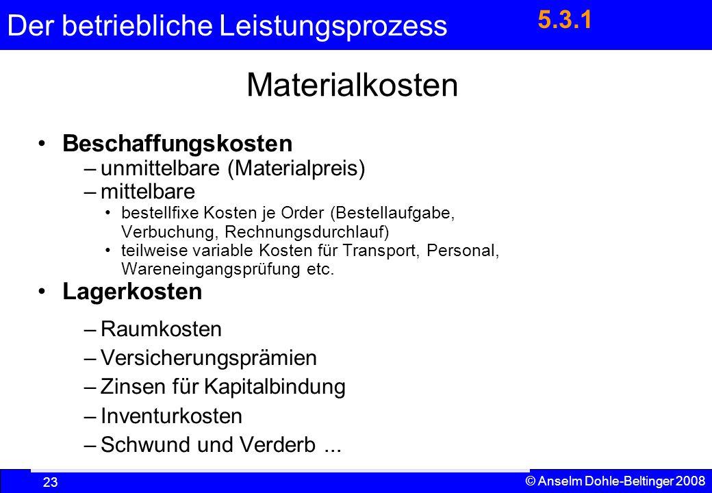 Der betriebliche Leistungsprozess 23 © Anselm Dohle-Beltinger 2008 Materialkosten Beschaffungskosten –unmittelbare (Materialpreis) –mittelbare bestell