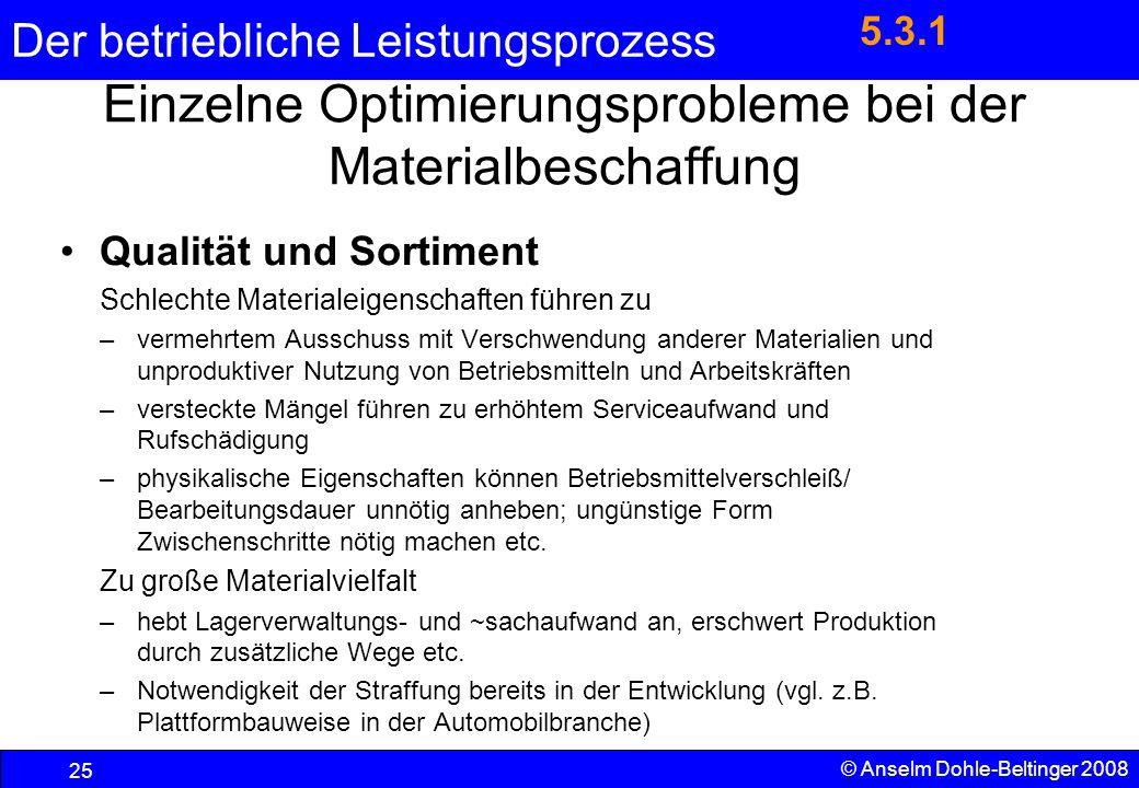 Der betriebliche Leistungsprozess 25 © Anselm Dohle-Beltinger 2008 Einzelne Optimierungsprobleme bei der Materialbeschaffung Qualität und Sortiment Sc