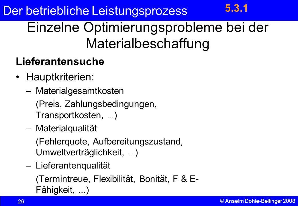 Der betriebliche Leistungsprozess 26 © Anselm Dohle-Beltinger 2008 Einzelne Optimierungsprobleme bei der Materialbeschaffung Lieferantensuche Hauptkri
