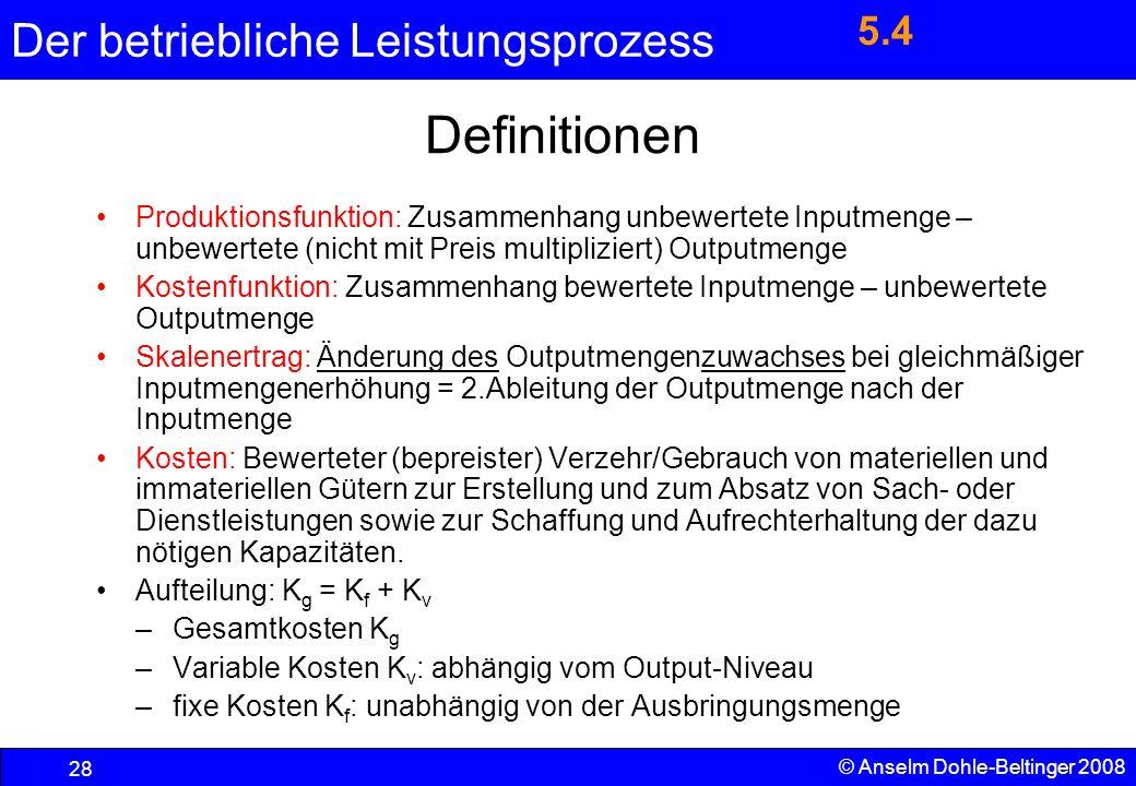 Der betriebliche Leistungsprozess 28 © Anselm Dohle-Beltinger 2008 Produktionsfunktion: Zusammenhang unbewertete Inputmenge – unbewertete (nicht mit P